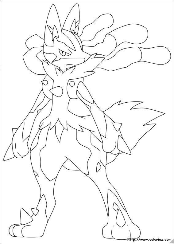 Coloriage Mega Lucario En 2020 Coloriage Pokemon