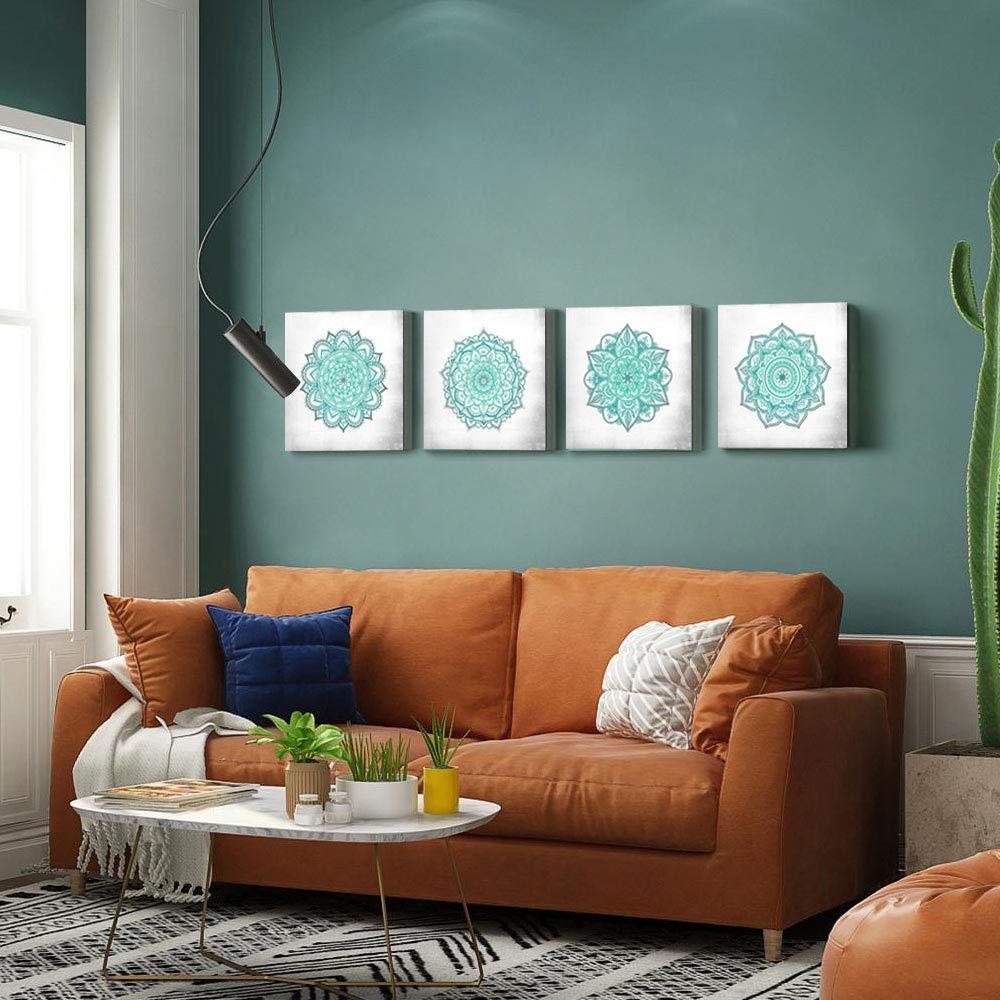 Sumgar Prints On Canvas Teal Mandala Wall Art Boho Turquoise Artwork For Bedroom Easy To Hang 30x30c Turquoise Artwork Bedroom Artwork Boho Wall Art