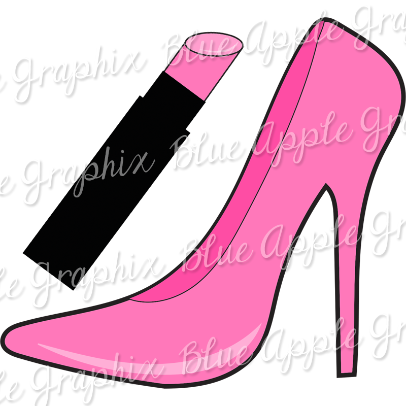 .25 Cent Clipart   Pink Pump With Matching Lipstick   PNG (Vector) Graphics