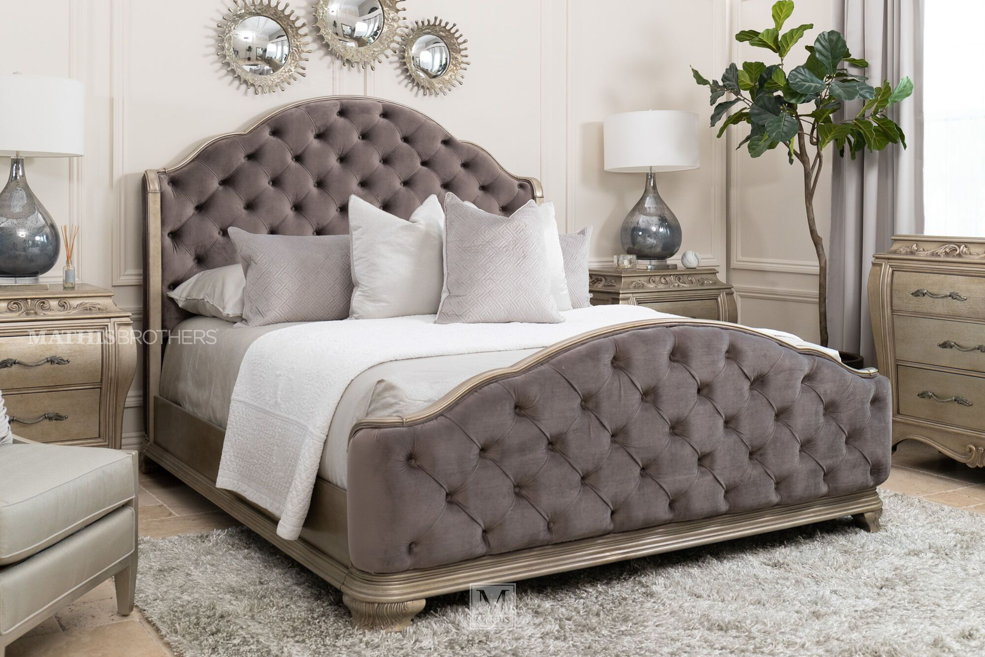 Contemporary Button Tufted Arched Panel Bed In Gray Mathis Brothers Furniture Mathis Brothers Furniture Bedroom Furniture Beds Panel Bed