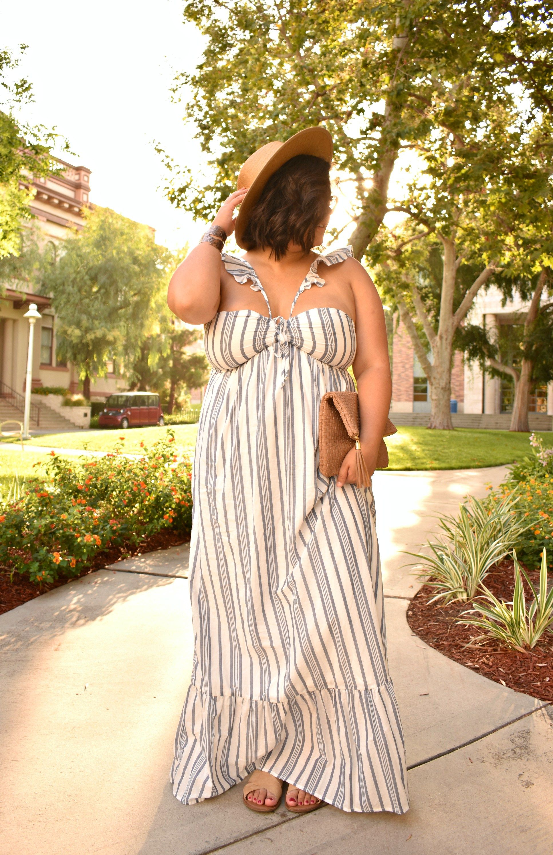 Plus Size Striped Maxi Sun Dress Ootd Biancakarina Plus Size Sundress Women S Plus Size Swimwear Plus Size Fashion [ 2989 x 1933 Pixel ]