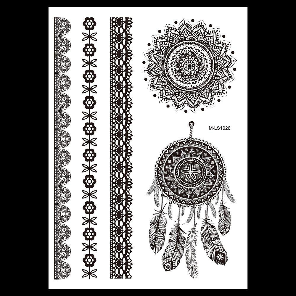 Black Henna Tattoo Uk: 1pc Classic Flower Feather Black Fake Henna Tattoo Lace
