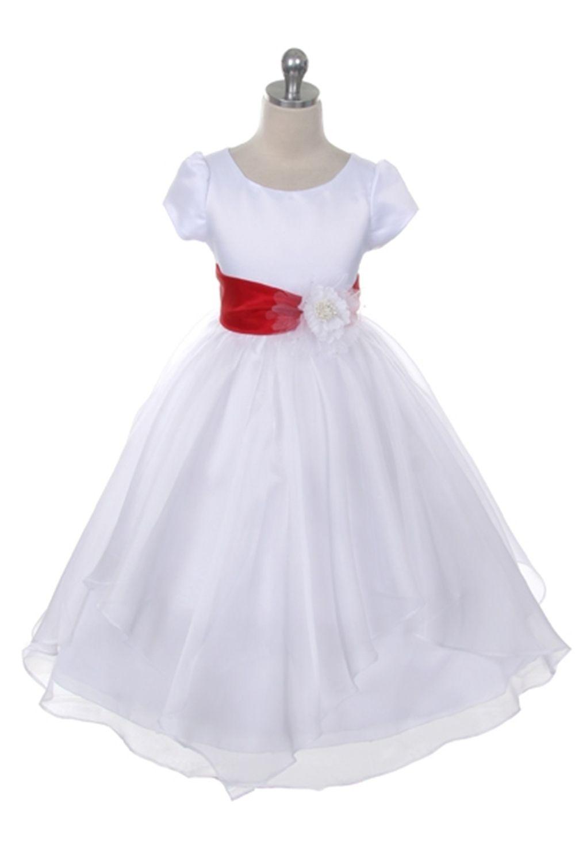 Whitered Satin And Organza Flower Girl Dress Little Girl Dresses