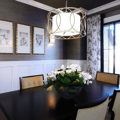 Wainscotting And Grasscloth Wallpaper Dining Room