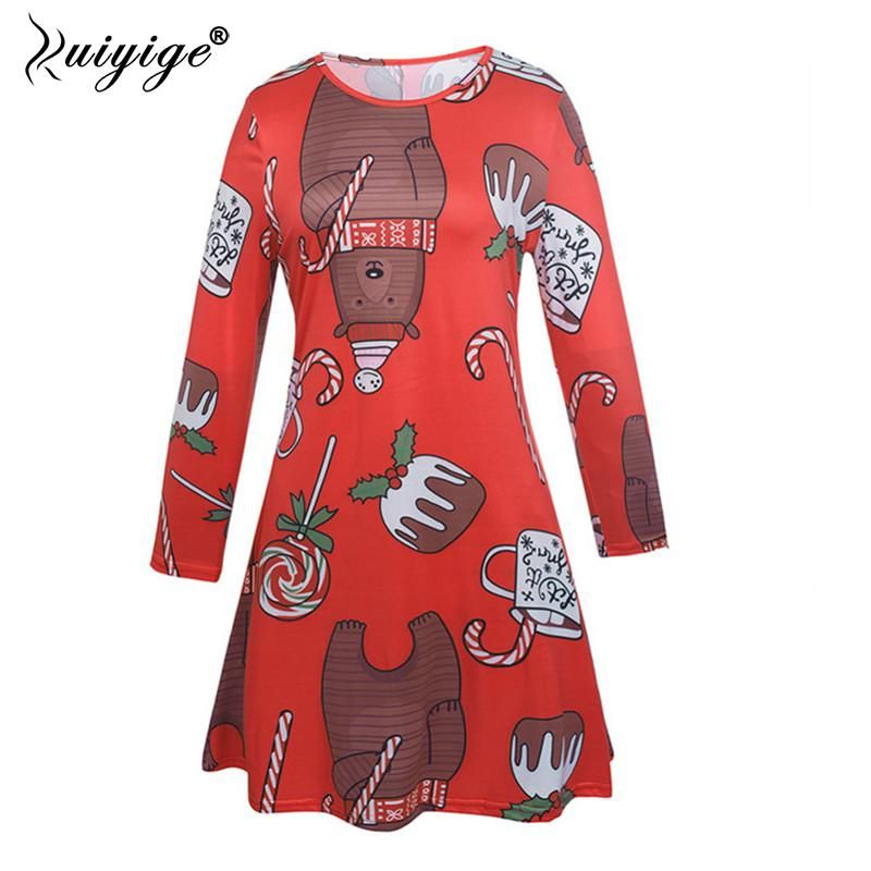 Ruiyige 2018 Winter Women Casual Christmas Print Full Sleeve O-Neck Elastic  Pleated Xmas Mini Dress Party Clothing Santa Gifts. Yesterday s price  US   17.86 ... a2fbcf5f771d