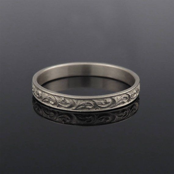 White Gold Wedding Band 18k Wedding Ring Woman Wedding Ring Etsy Vintage Style Wedding Rings Wedding Rings For Women Wedding Rings Unique