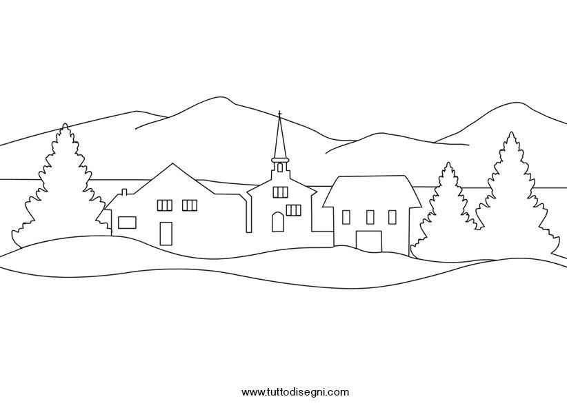 Disegno Paesaggio Invernale Sagome новый год рождество E