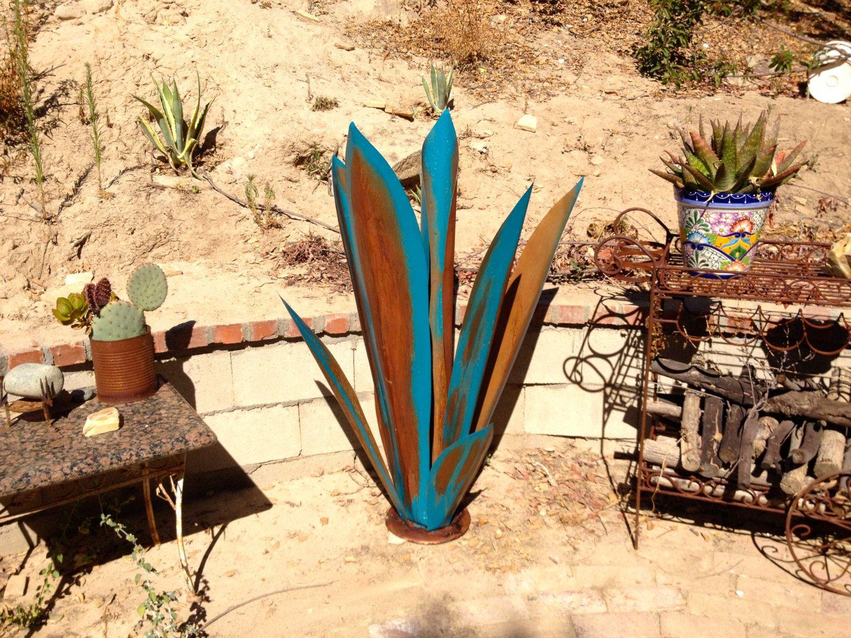 massive blue rustic tequila agave, metal garden sculpture, metal