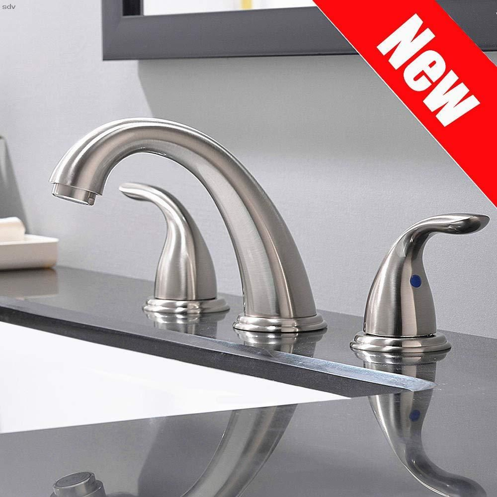 2 Handles 3 Holes Deck Mount Brushed Nickel Widespread Bathroom Faucet By Phiestina With Stainless Steel Pop Up Drain Wf008 5 Bn Upgrate Metal Push Seal Di 2020