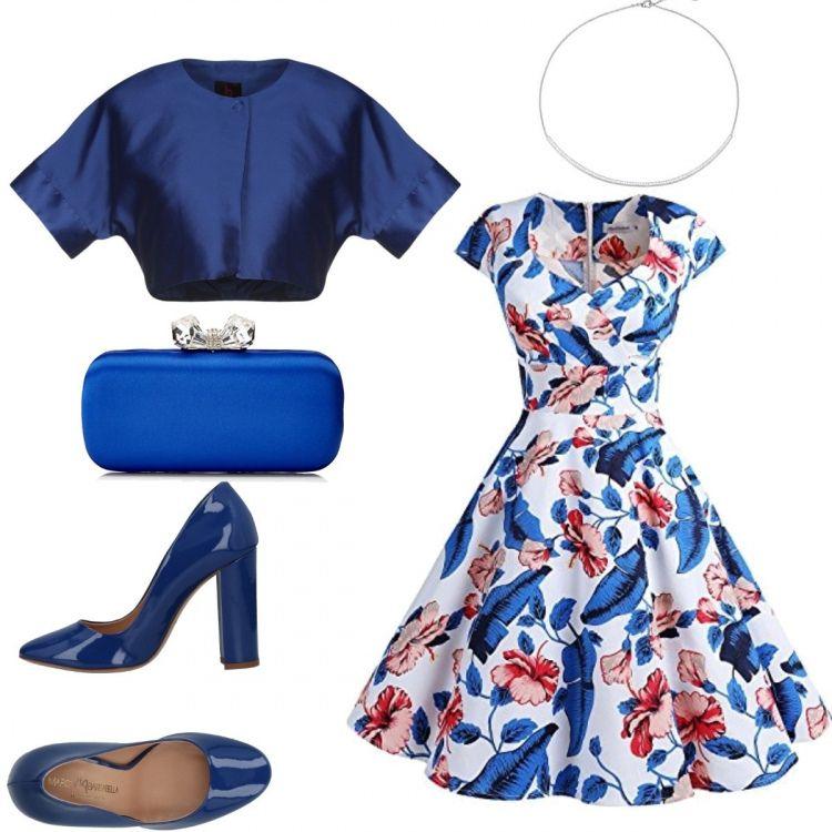official photos b39b5 486dc Vestito a fiori con gonna ampia, coprispalle blu, décolleté ...