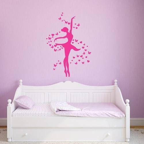 Adesivo De Parede Bailarina Rosa Para Quarto De Menina Adesivos