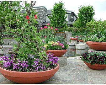 Polymer Resin Low Bowl Planter Resin Planters Garden Supplies Home Vegetable Garden