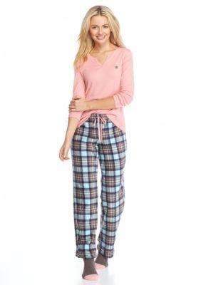 New Directions Intimates  3-Piece Plaid Cozy Toesie Pajama Set with Socks
