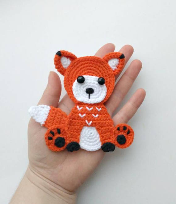PATTERN Fox Applique Crochet Pattern PDF Woodland Animals Pattern Instant Download Accessories Motif Ornament Baby Blanket Baby Gift ENG #babyblanket