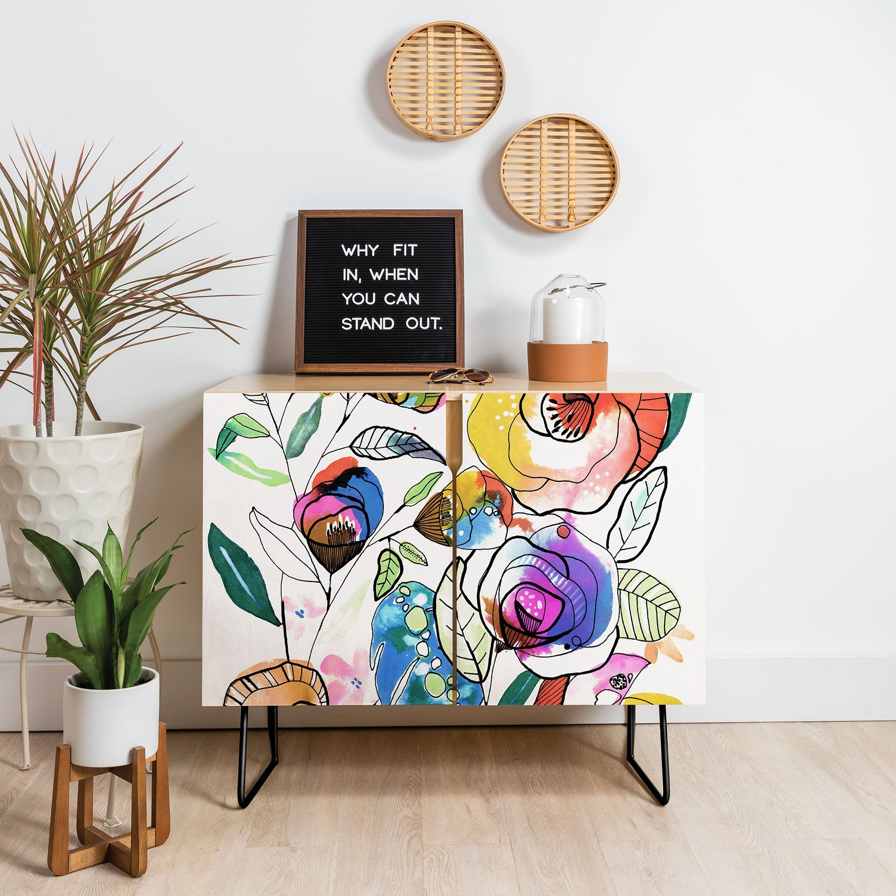 Coloured Flowers Credenza Cayenablanca Funky Painted Furniture Shabby Chic Furniture Painted Furniture