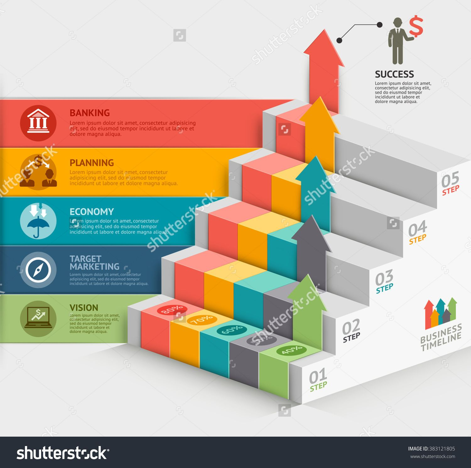 3d Business Staircase Diagram Template. Vector