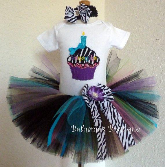 Birthday Zebra Cupcake Tutu Set Animal Print 1st By