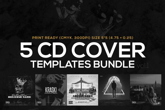 5 CD Cover Templates Bundle vol1 by RussGFX on Creative Market - psd album cover template