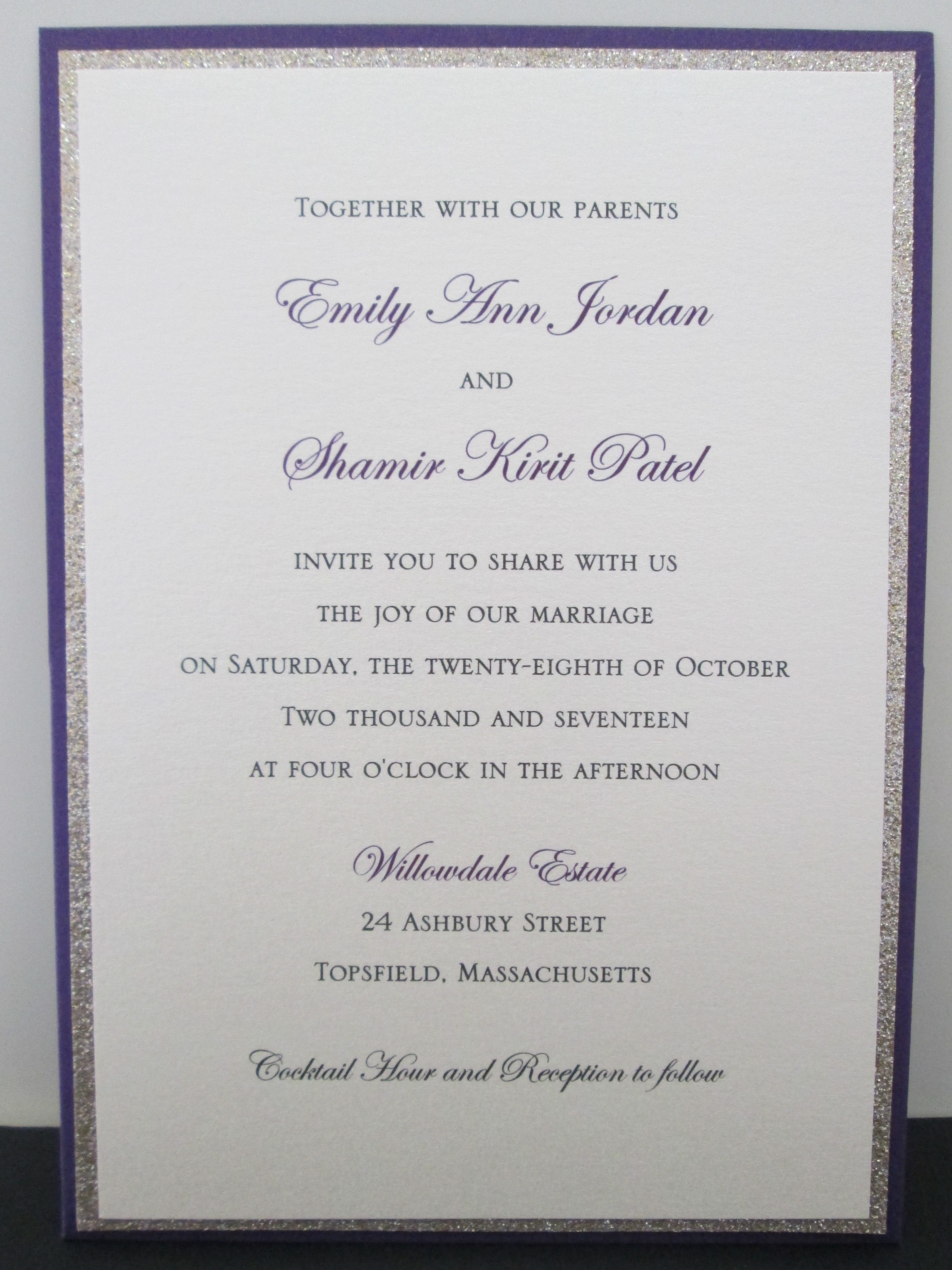 Purple Pocket Card with Gold Glitter Accent