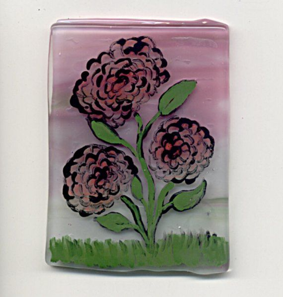 Fused Glass Painting on Glass  Flowers In Bloom by Chris1 on Etsy, $25.20