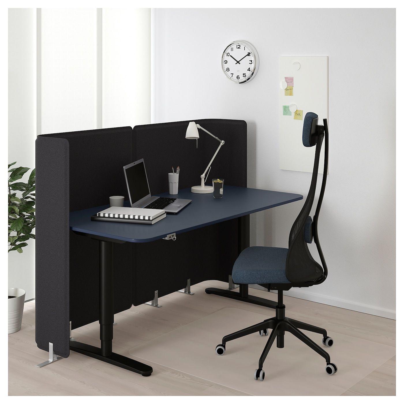 Bekant Bureau De Reception Assis Debout Linoleum Bleu Noir 160x80 120 Cm Ikea Ikea Surface De Travail Linoleum