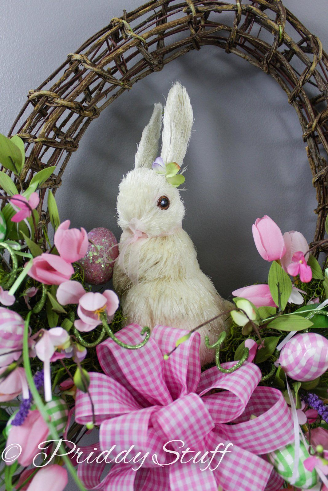 Easter Bunny with Pink Tulips