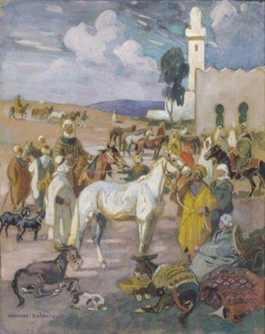 Le marché aux chevaux von Edouard Edmond Doigneau