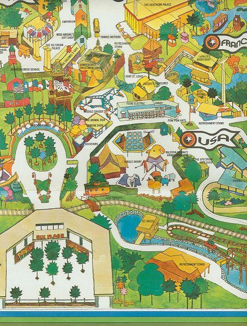 1971 Six Flags Over Texas Map Six Flags Over Texas Six Flags Texas Map