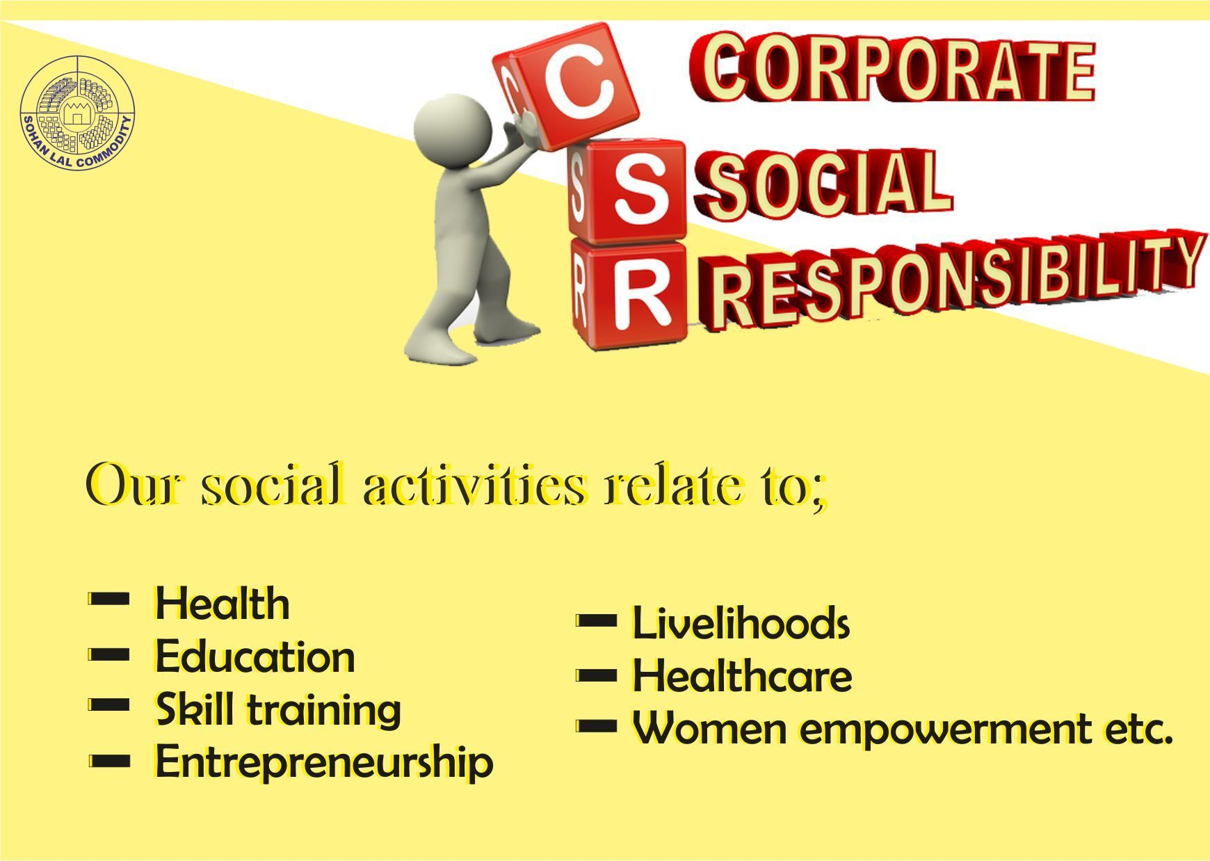 The group's CSR programs aim is to work towards empowering