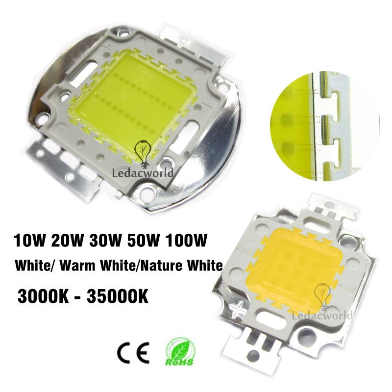 10w 20w 30w 50w 100w High Power Led Chip 45mil 3000k To 35000k Integrated Smd Cob Beads Warm White Nature White Cold Whi Power Led Warm White Light Accessories