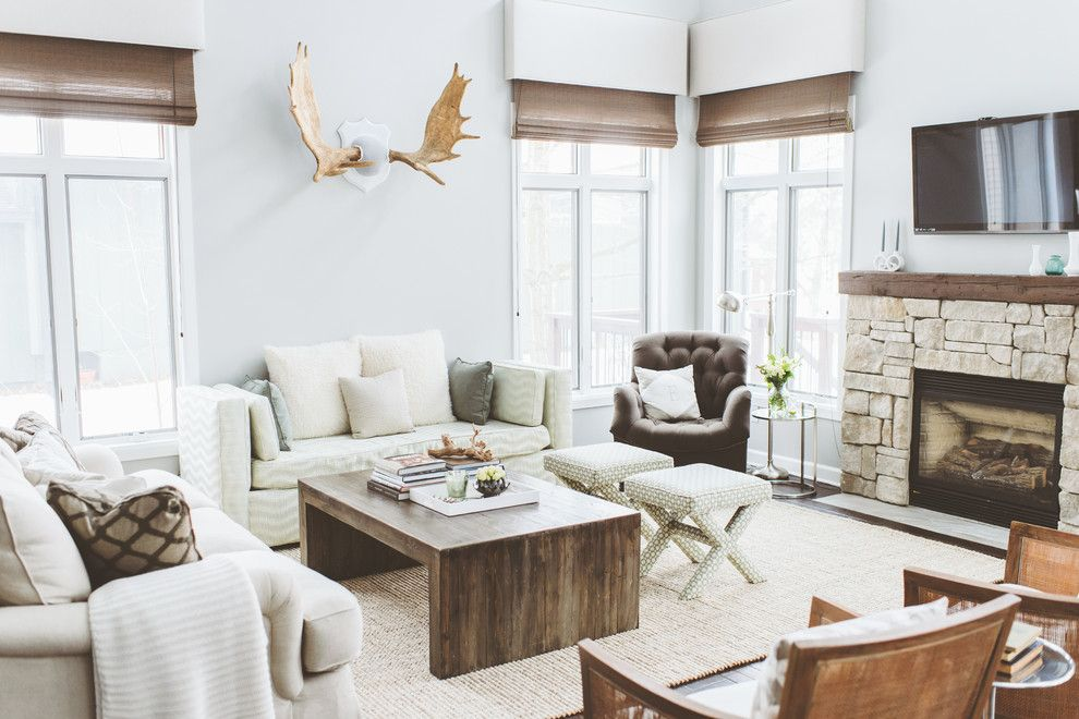 Beach Style Rustic Modern Living Room Moose Antlers