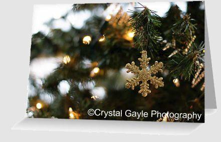 Gold Christmas Greeting Card Snowflake by CrystalGaylePhoto \