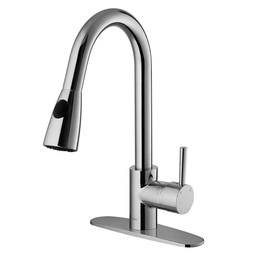 Vigo Single Handle Chrome Pullout Spray Kitchen Faucet With Deck Plate,  Silver