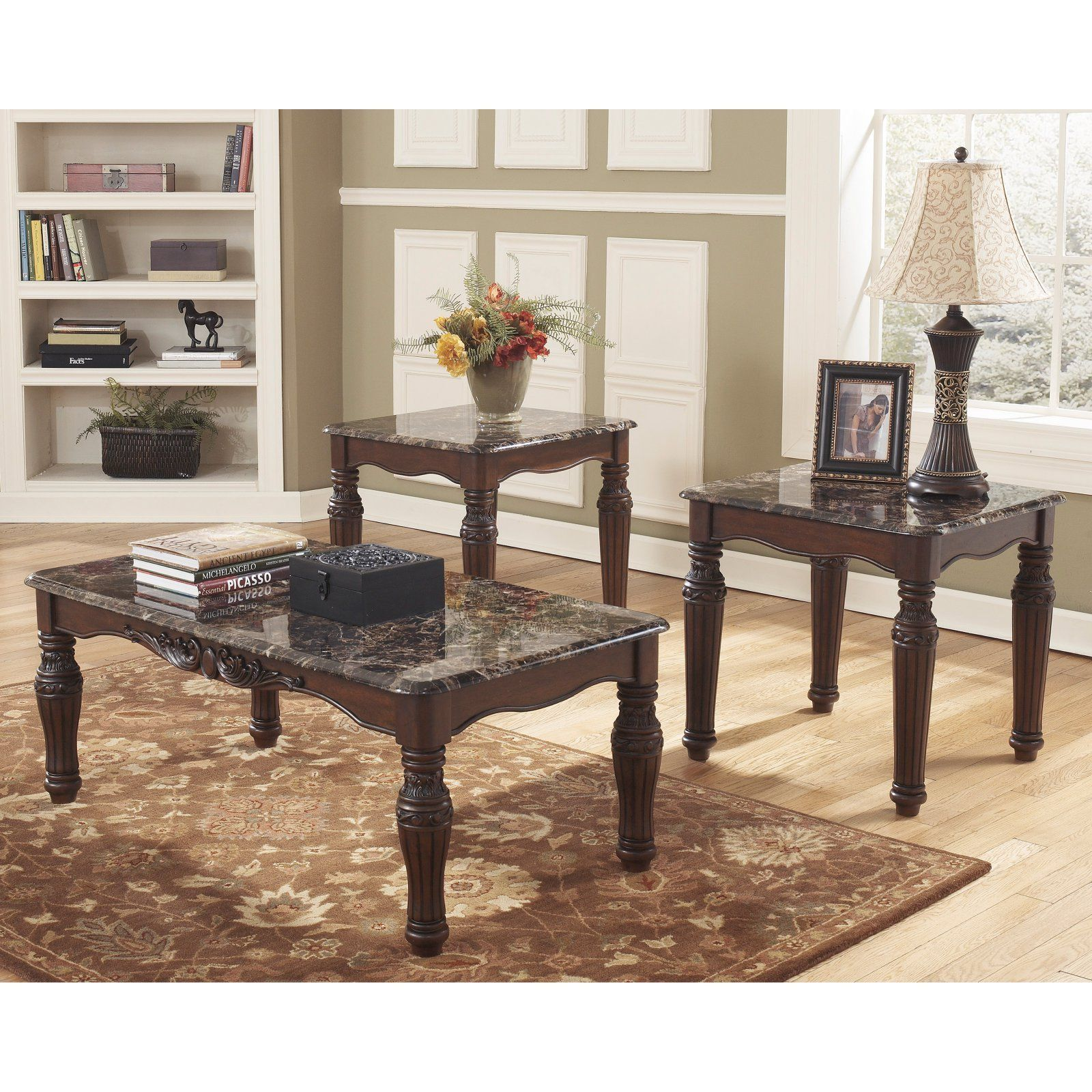 North Shore Brown Occasional Table Set Of 3 Faux Marble Coffee