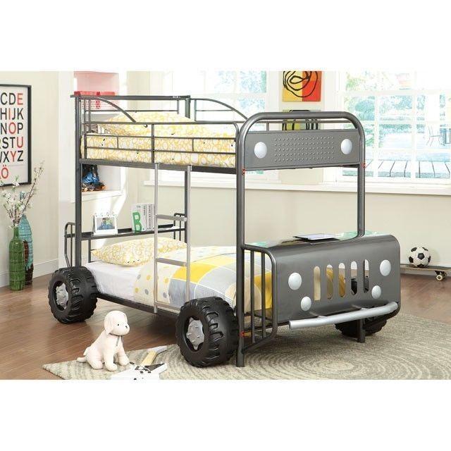 Explorer kids Jeep Design Gun Metal Twin Twin Bunk Bed | James Jai ...