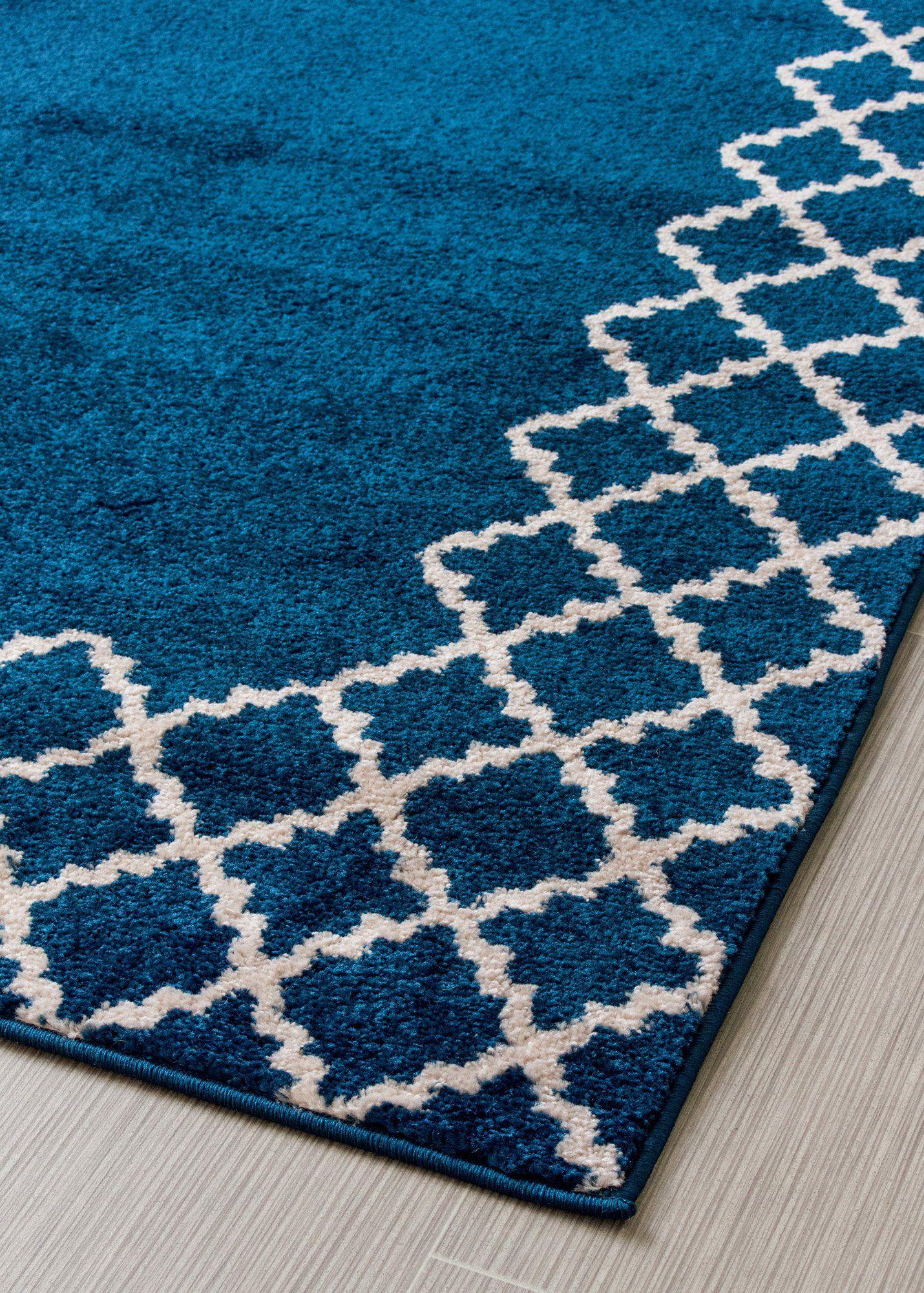 ivory blue trellis border rug modern transitional contemporary