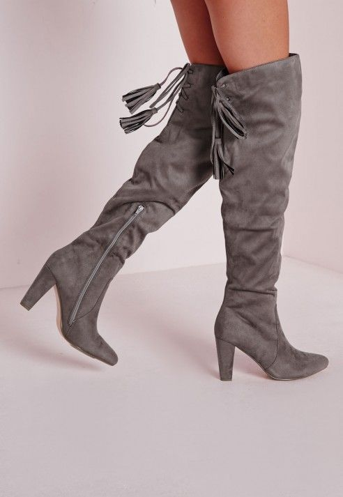 9a98792e53a Heeled Knee High Tie Back Boots Grey - Shoes - Boots - Missguided ...