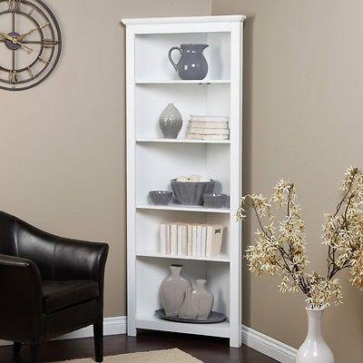 5 Shelf White Corner Bookcase Living Room Office Furniture Bookshelf Bedroom Ebay White Corner Bookcase Corner Cabinet Living Room Corner Bookshelves