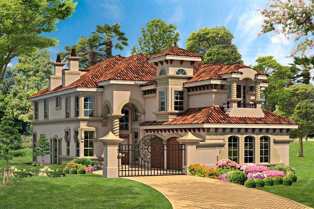 Plan 36348tx Narrow Lot With Garage Options Mediterranean House Plans Luxury Plan Luxury House Plans