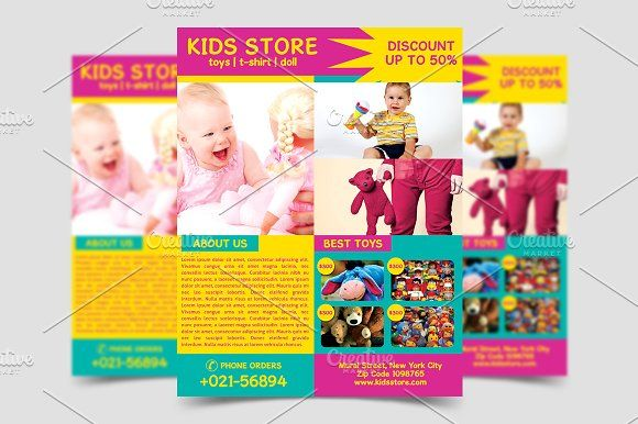Kids Store Flyer Template by meisuseno on @creativemarket - discount flyer template