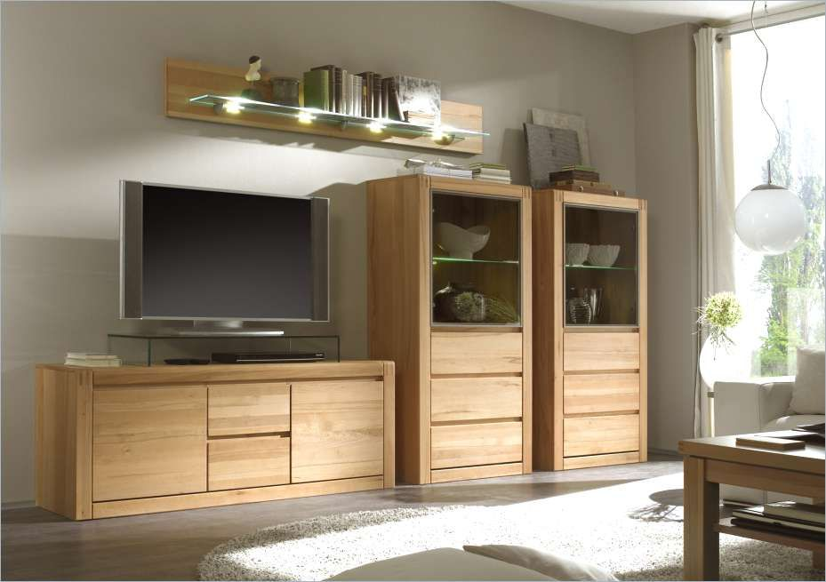 Wohnwand Holz Massiv Wohnzimmerschrank Holz Massiv Komfort ...