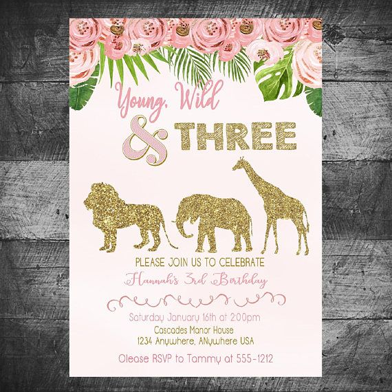 Young Wild Three Birthday Invitation, Safari Birthday Invitation , Jungle, Monstera Pink and Gold Jungle Safari Invite, Jungle invitation #safaribirthdayparty