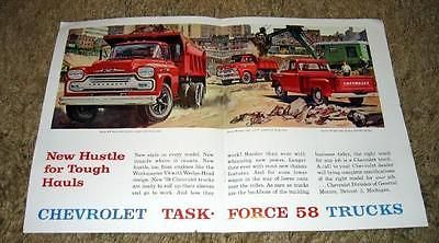 """1958 #chevy task force #pickup truck """"new hustle"""" #original color ad,  View more on the LINK: http://www.zeppy.io/product/gb/2/351611488968/"""