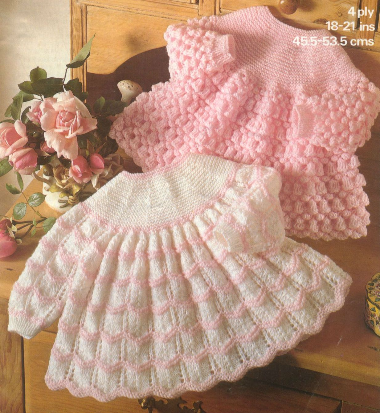Knitting Pattern For Newborn Jumper : Knit Baby Dress Vintage Knitting Pattern 18-21 inch chest Sweater Angel Top l...