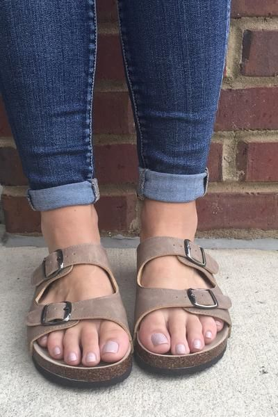 Birkenstock inspired tan taupe sandals with two buckel straps on the top.  We also have available in brown! 43f2e511d2d
