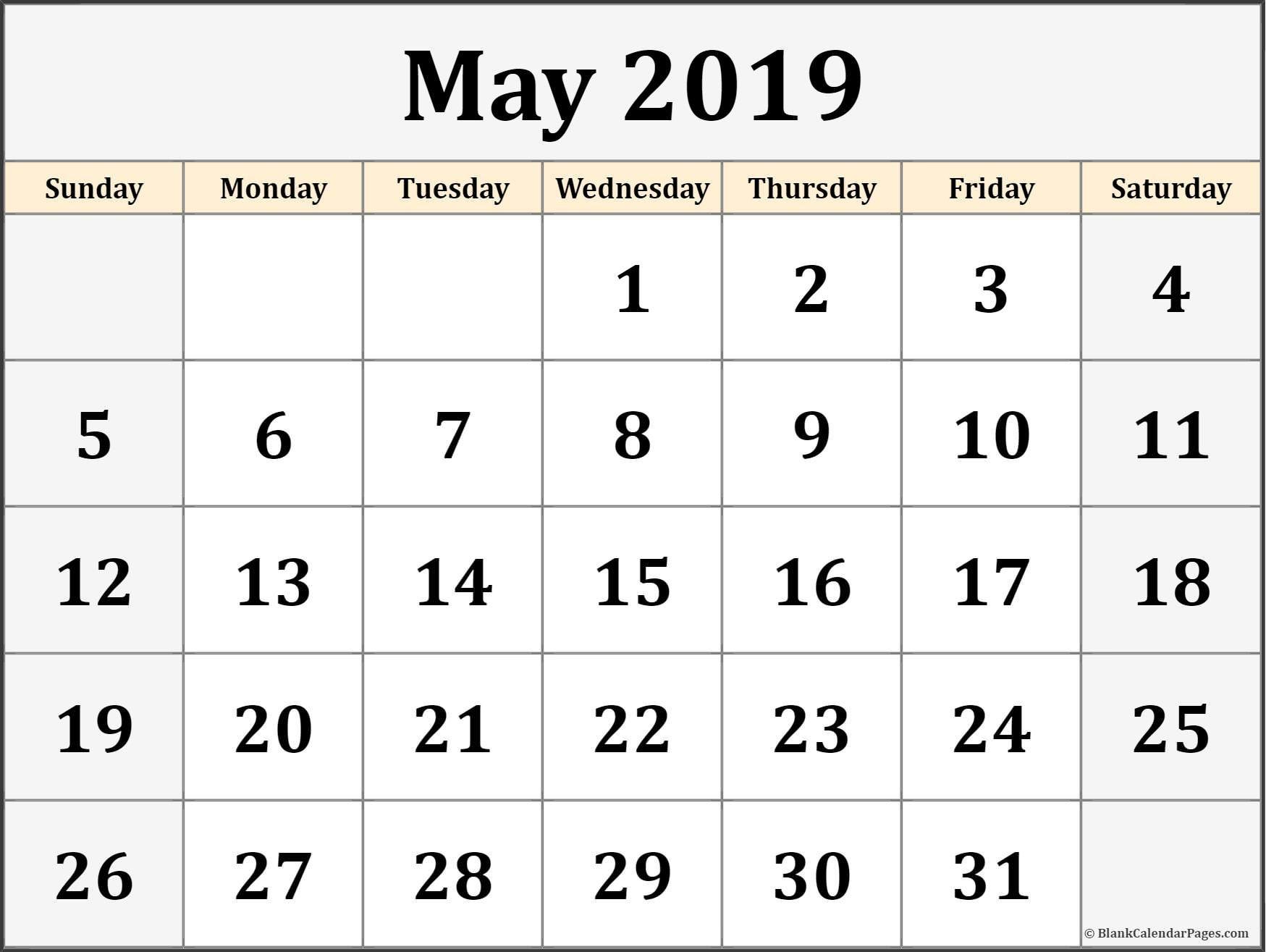May Blank Calendar Templates