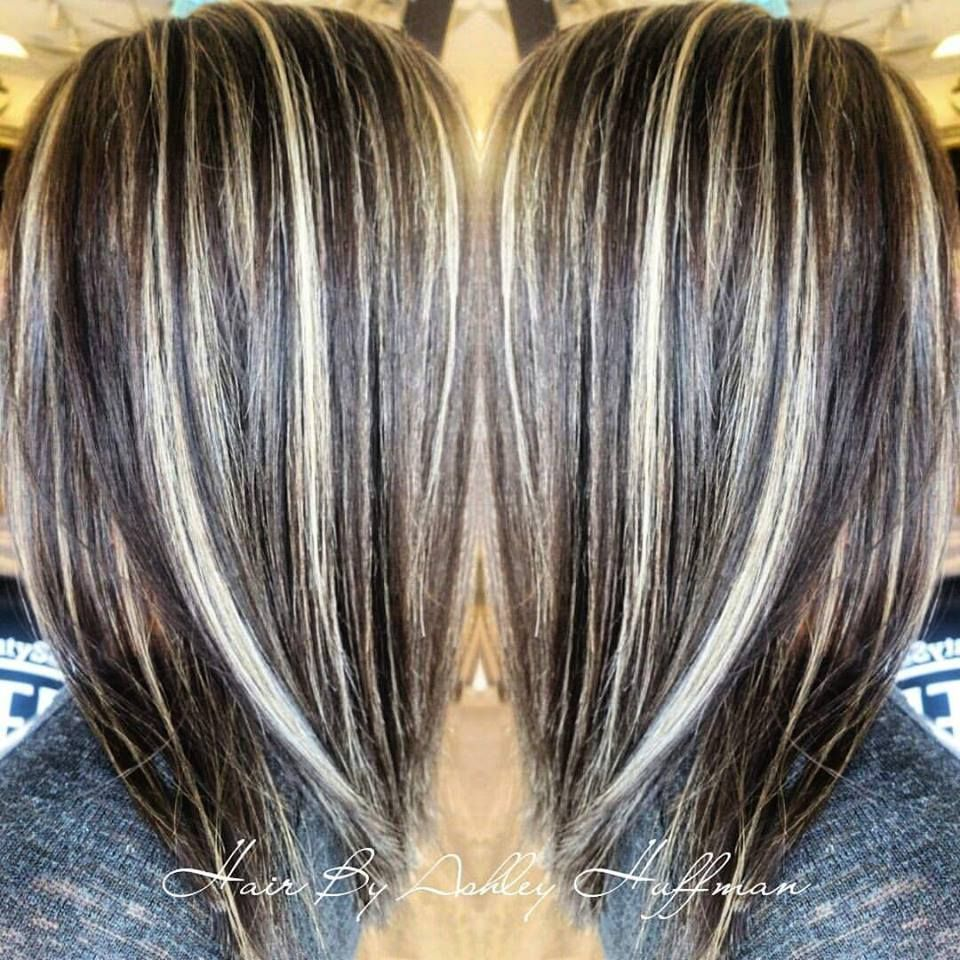 Day Night Hair Color Soft Dark Brown With Cream Soda Blonde Highlights Joico Hair Salon Hair Highlights Hair Styles Covering Gray Hair