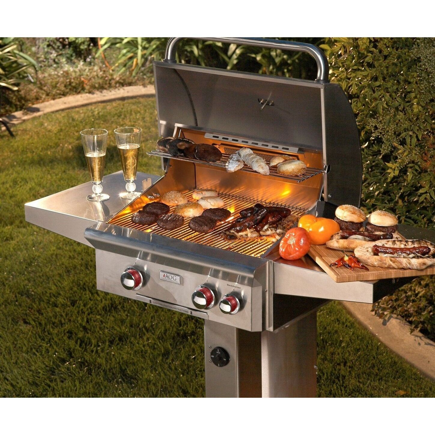 American Outdoor Grill 24 Inch T Series In Ground Post Grill With Rotisserie Natural Gas Grey Stainles Outdoor Grill Outdoor Cooking Area Natural Gas Grill