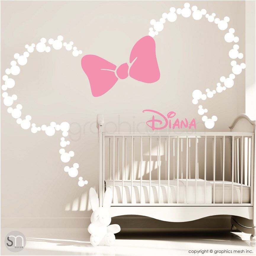 Mickey Mouse Inspired ears with Bow & PERSONALIZED BABY NAME / Minnie Mouse Inspired wall decals by GraphicsMesh (Medium)