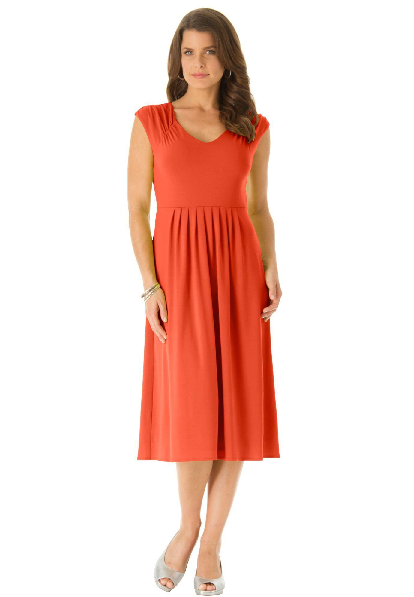 Fit flare dress plus size career dresses roamans